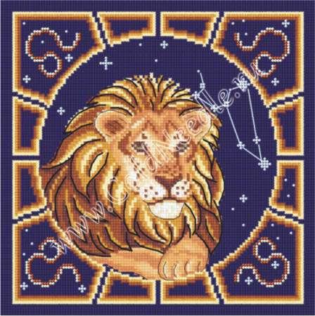 Вышивка крестом знак зодиака-лев