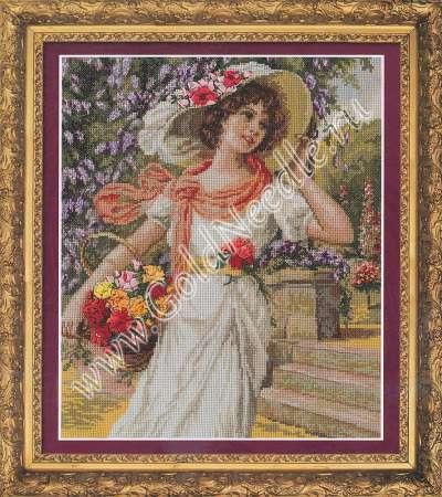 Девушка с корзиной цветов схема